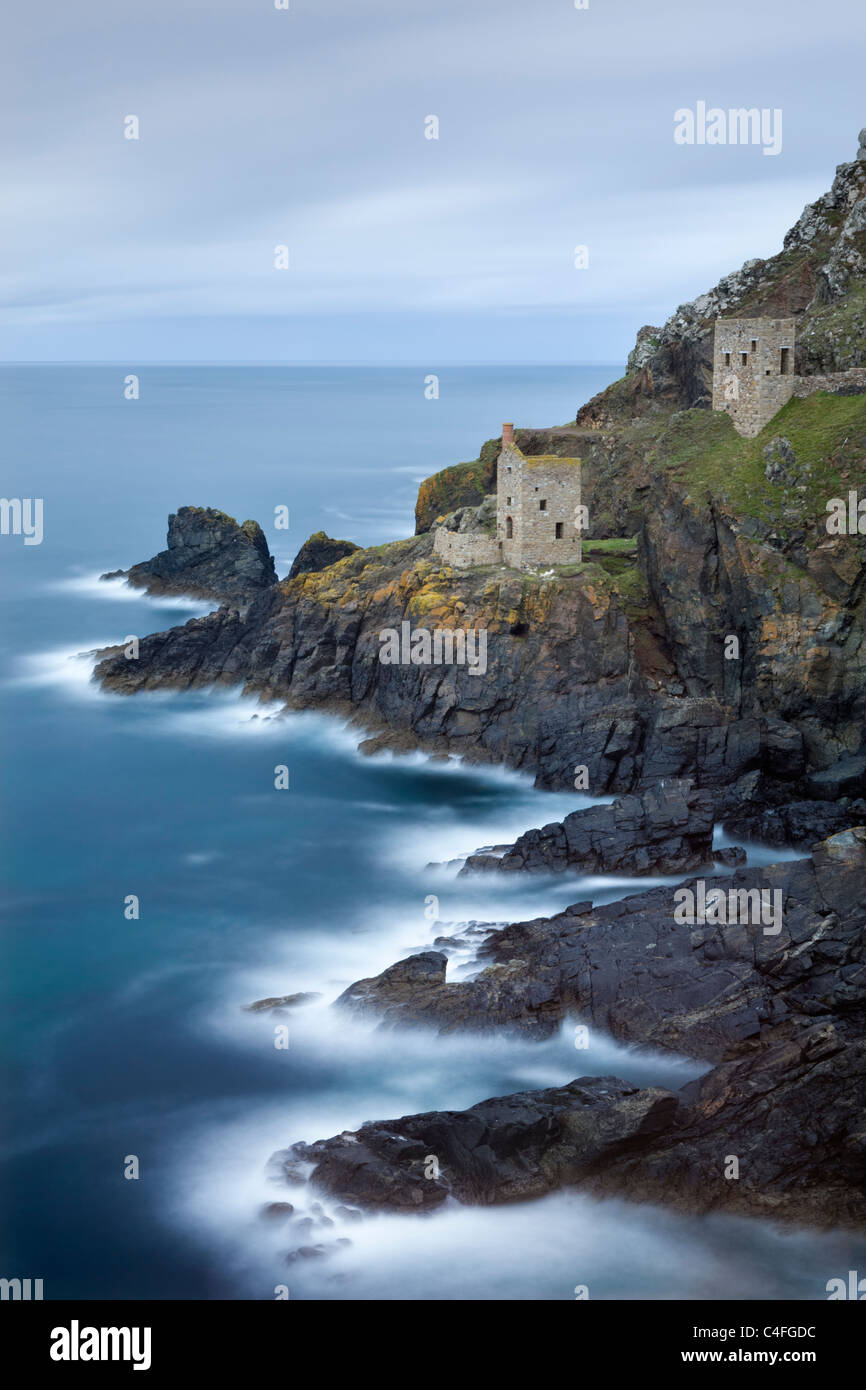 The Crowns engine houses, a historic reminder of Cornwalls tin mining heyday, Botallack, St Just, Cornwall, England. - Stock Image