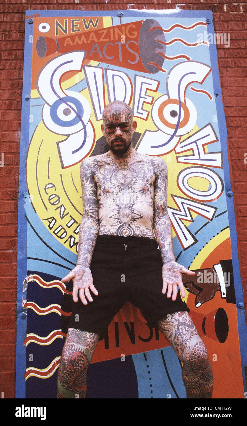 Man with full body tattoo - Stock Image