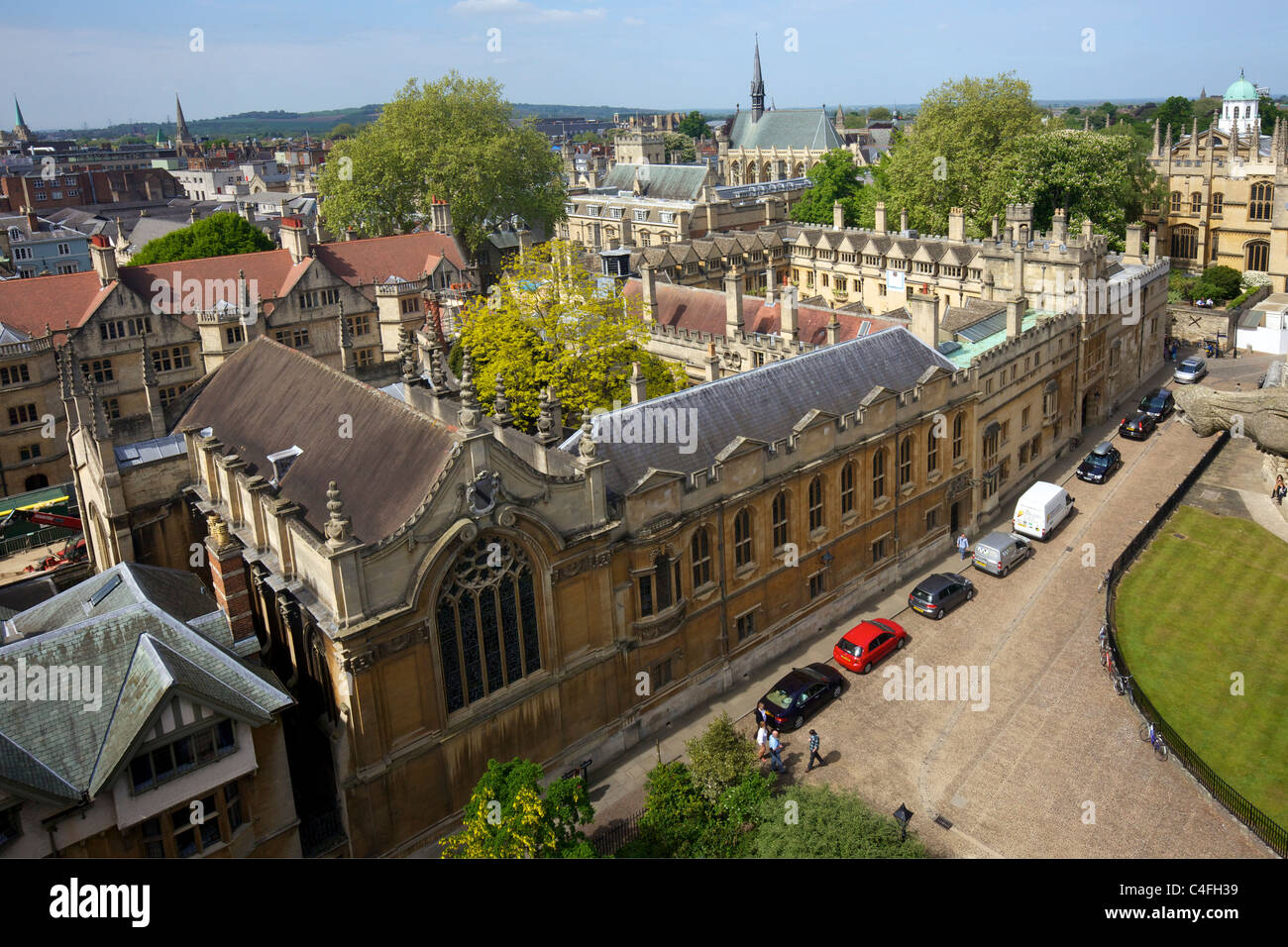 View over Brasenose College from tower of University Church Of St Mary The Virgin,  University of Oxford, Oxfordshire, - Stock Image