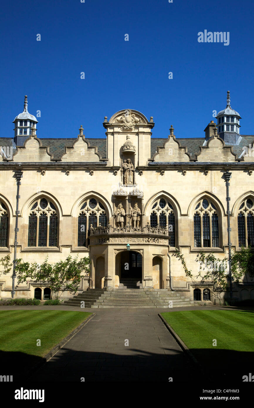 Front Quad buildings including hall and chapel, Oriel College, Oxford University, Oxford, Oxfordshire, England, - Stock Image
