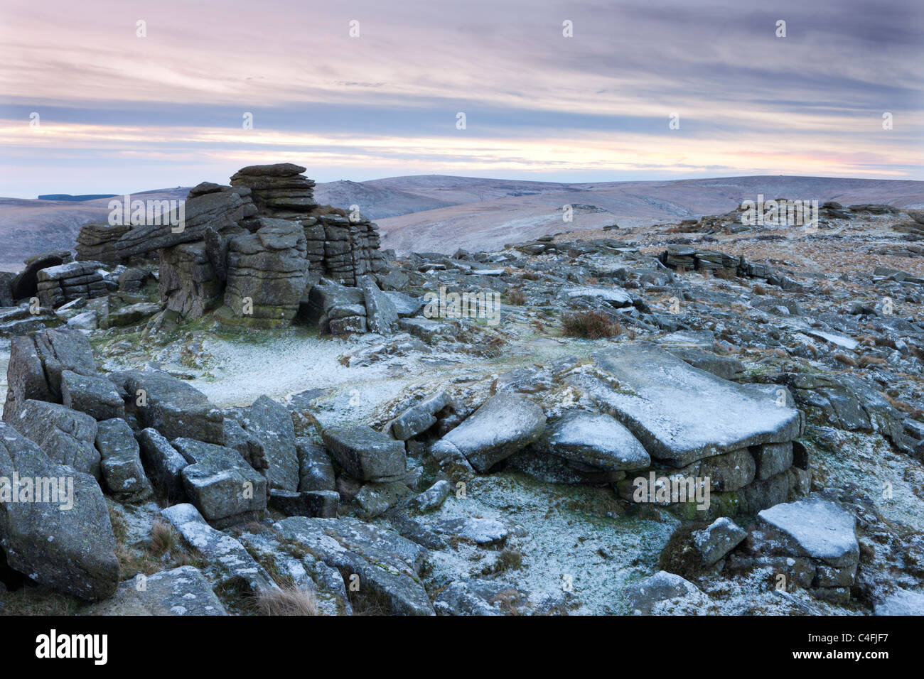 Frost covered Higher Tor in Dartmoor National Park, Devon, England. Winter (December) 2010. Stock Photo