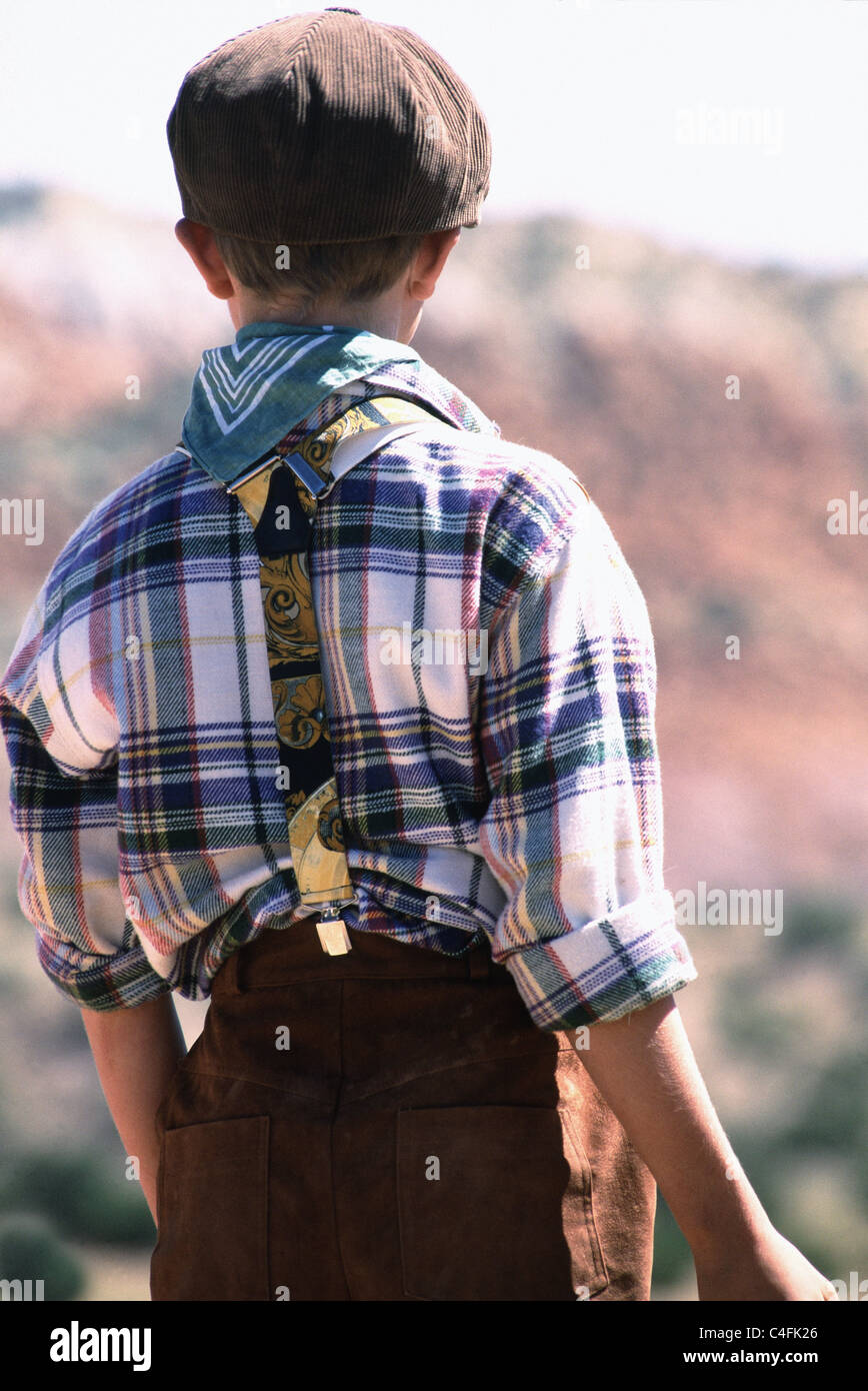boy with suspenders - Stock Image