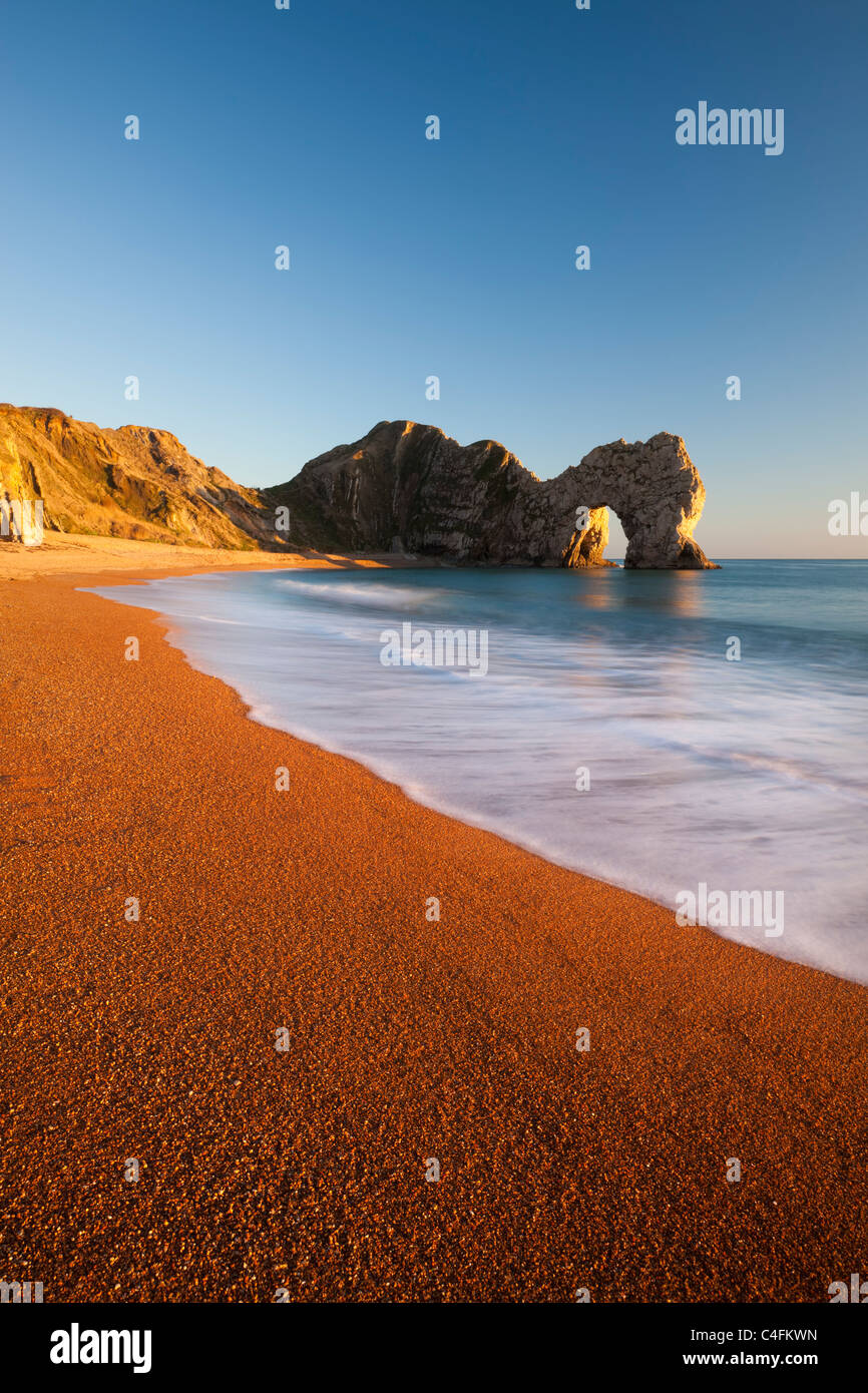 Deserted Durdle Door and beach, Jurassic Coast, Dorset, England. Winter (January) 2011. - Stock Image