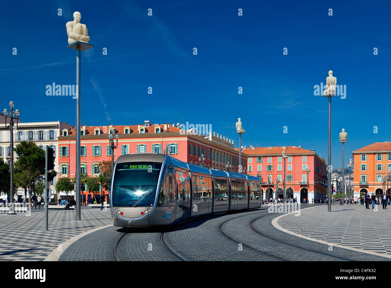 Europe, France, Alpes-Maritimes (06), Streetcar in Place Massena in Nice - Stock Image