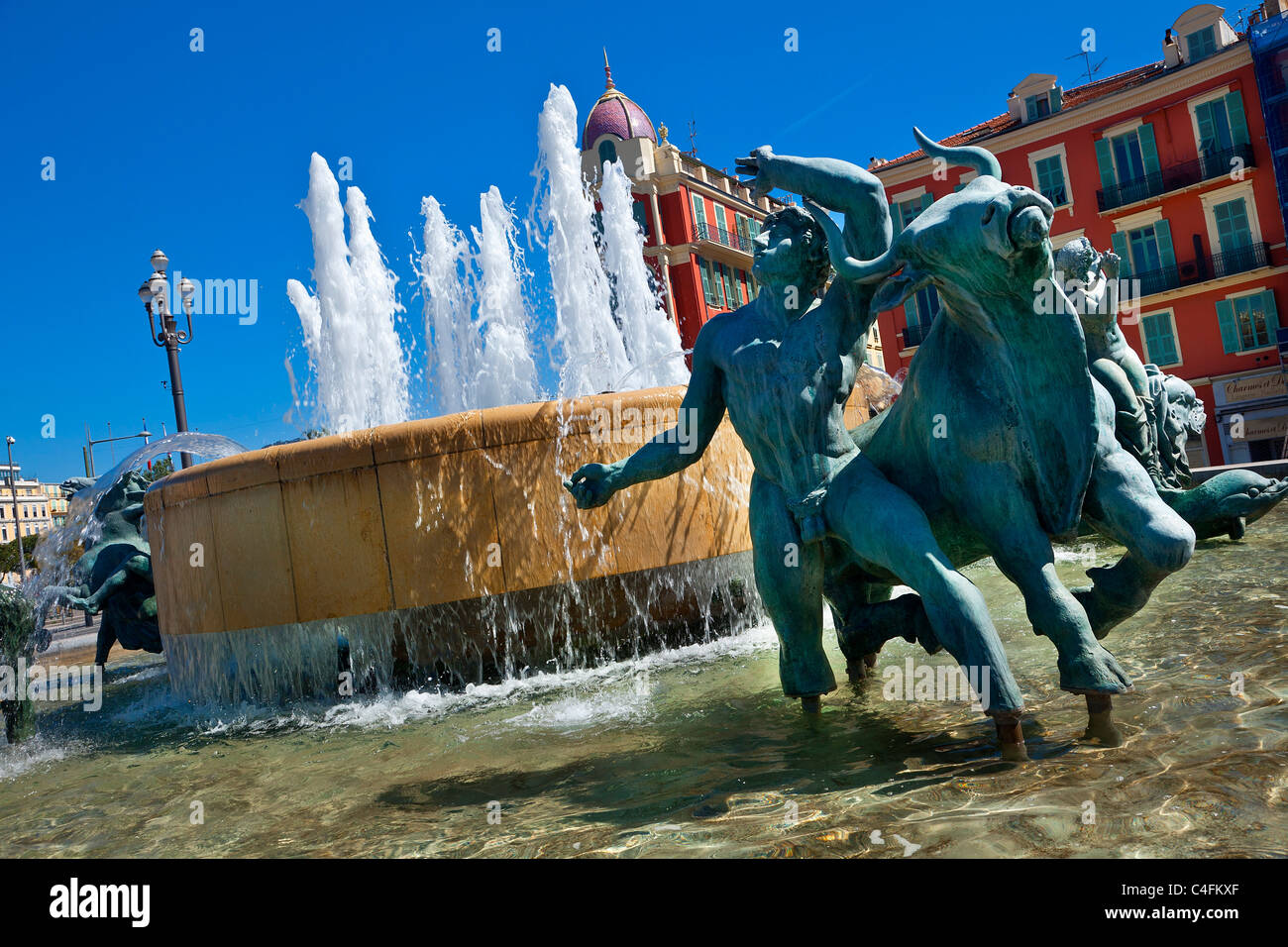 Nice, Old Town, Place Massena, Fontaine du Soleil (Fountain of the Sun) Stock Photo