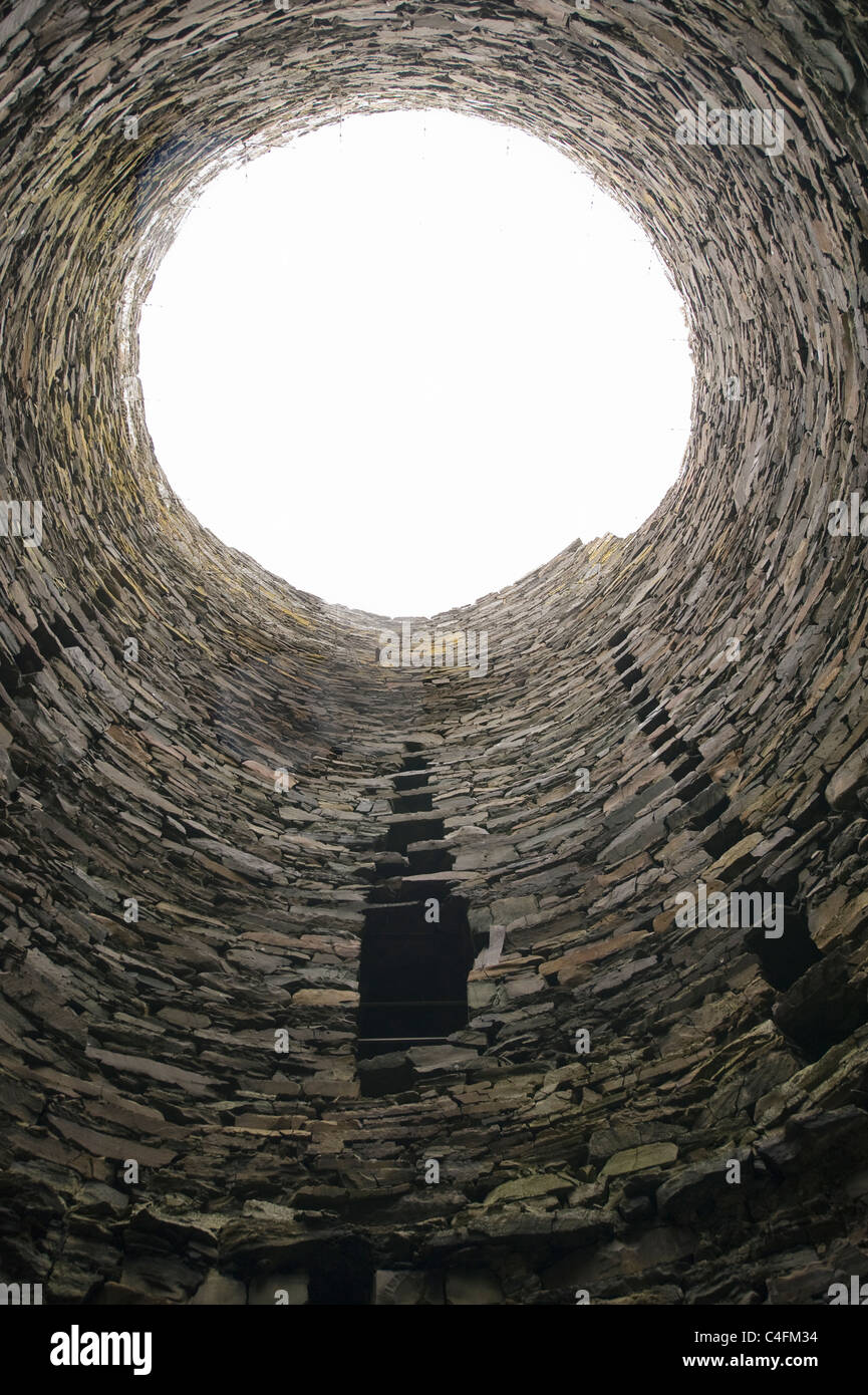 Broch of Mousa, Stone defensive tower, ca 100 BC, 44 feet (13 m) high, best-preserved in Europe, Shetland Islands, - Stock Image