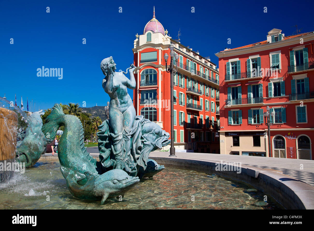 Nice, Old Town, Place Massena, Fontaine du Soleil (Fountain of the Sun) - Stock Image
