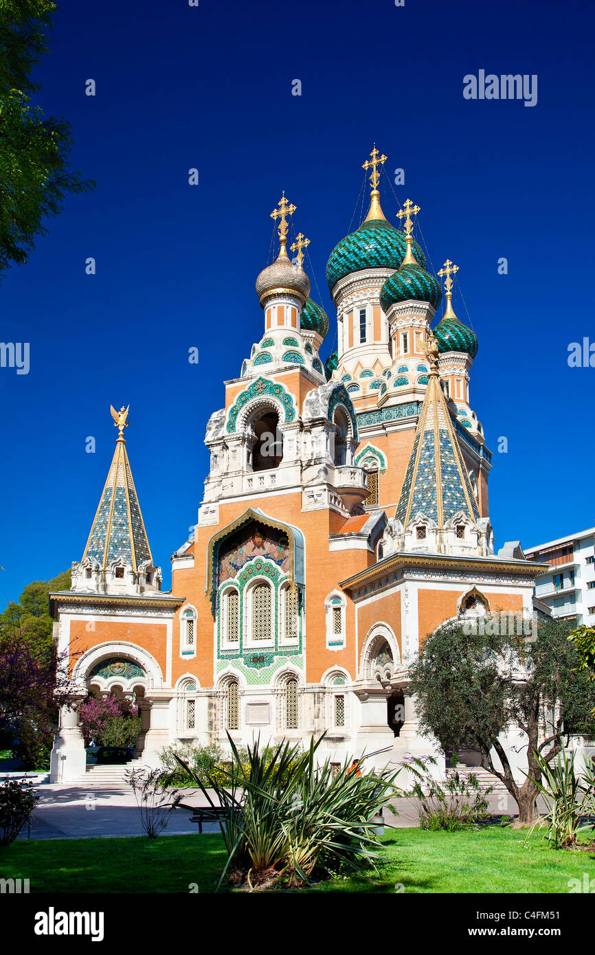 France, Alpes Maritimes, Nice, Russian Orthodox Cathedral of St Nicolas and St Alexandra built in 1859 on Boulevard - Stock Image