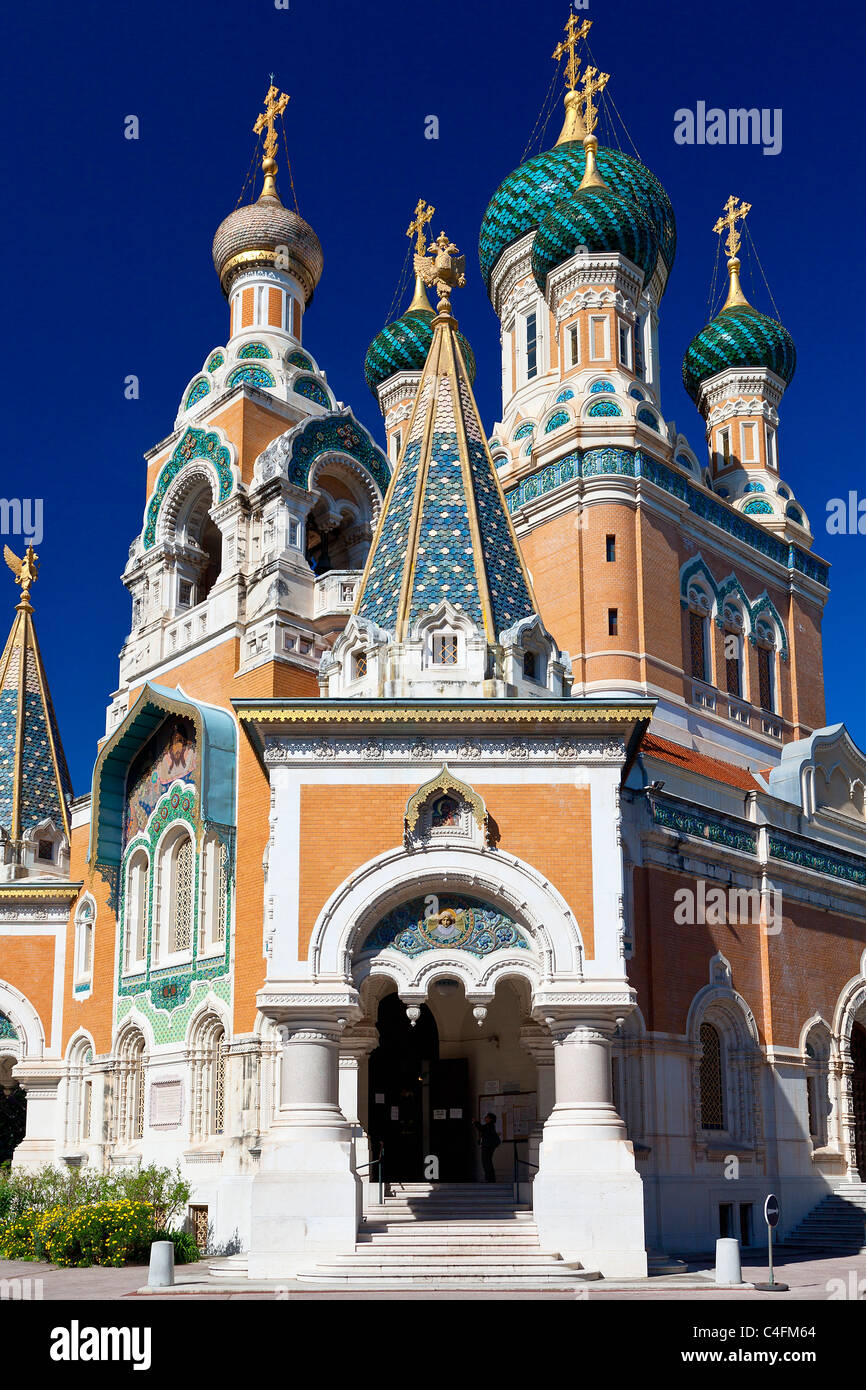 Nice, Russian Orthodox Cathedral of St Nicolas - Stock Image