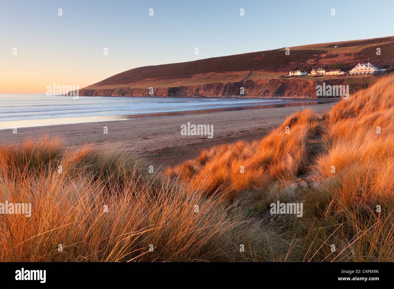 Saunton Sands and Saunton Down from the sand dunes at Braunton Burrows, Devon, England. Winter (January) 2011. - Stock Image