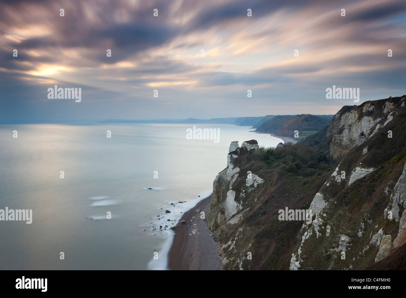 Clifftop viewpoint westwards from Beer Head, looking towards Hooken Cliffs, Charmouth, Dorset, England. Winter (January) - Stock Image