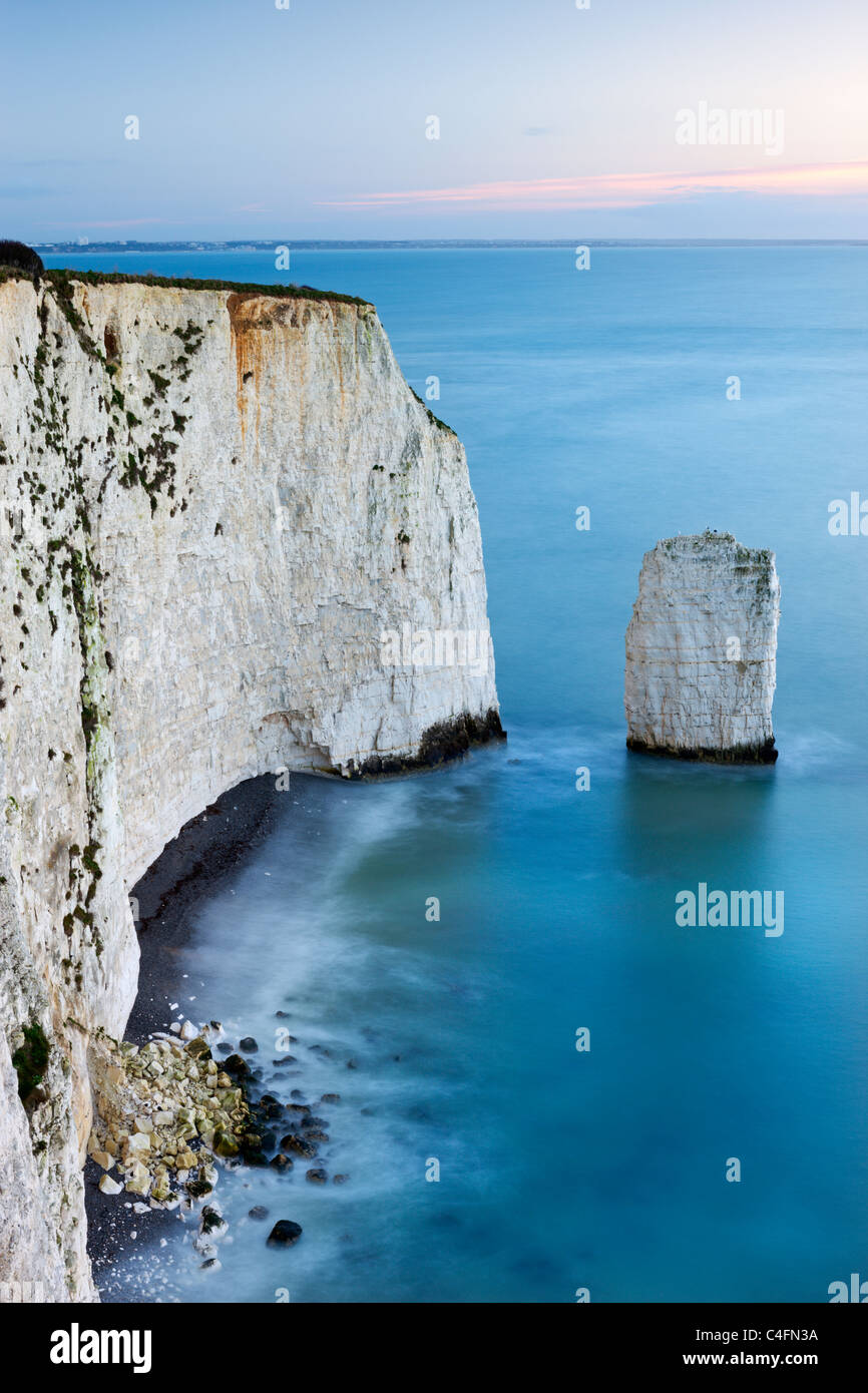 Chalk Cliffs and Sea Stack at South Haven Point, near Old Harry Rocks, Ballard Down, Dorset, England. Winter (February) - Stock Image