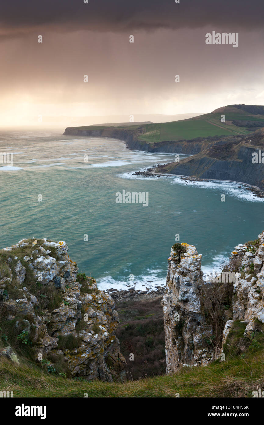 Storm approaching the Purbeck Coast viewed from Emmetts Hill, Dorset, England. Winter (February) 2011. - Stock Image