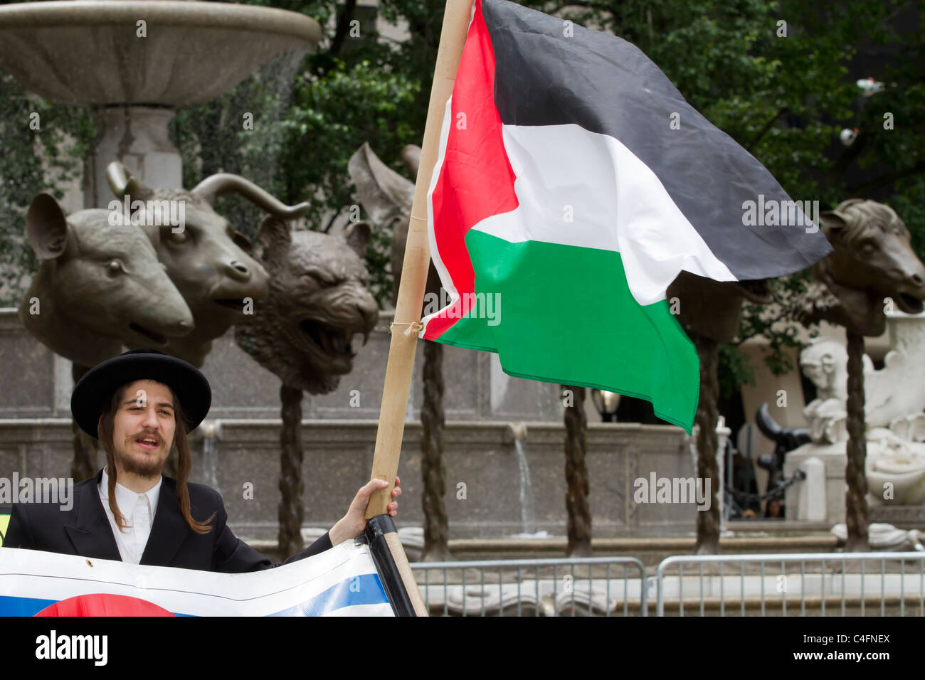 Ultra orthodox protester holding a Palestinian flag at the 2011 Celebrate Israel Parade on Fifth Avenue Stock Photo