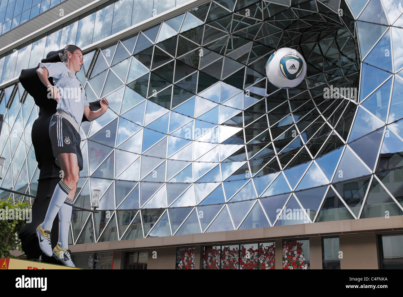 advertising for FIFA Woman's World Cup Germany 2011 with Birgit Prinz in the city centre of Frankfurt, Germany - Stock Image