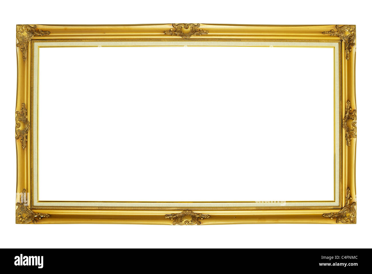 Wooden frame for paintings or photos, isolated on white background - Stock Image