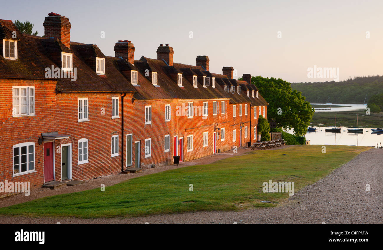 Cottages in the historic Bucklers Hard, New Forest - Stock Image