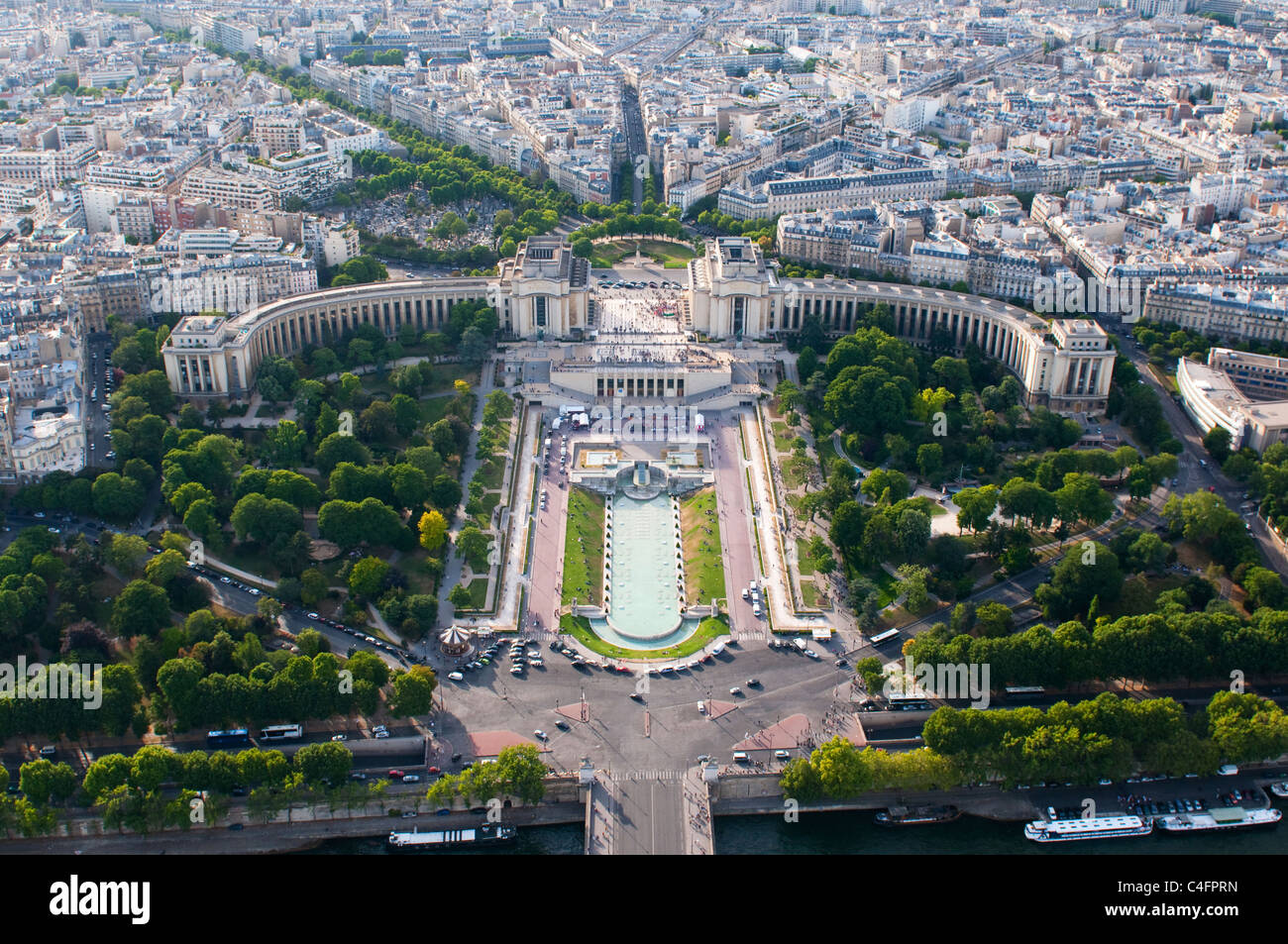 Aerial view on Trocadero from the Eiffel tower Stock Photo
