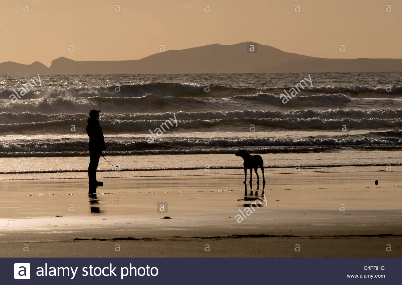 People walking their dog on a beach at sunset Stock Photo