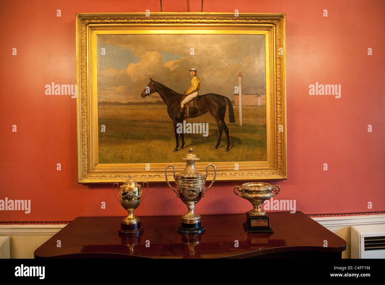 Gold Cups And Horse Painting The Jockey Club Newmarket Suffolk Uk Stock Photo Alamy