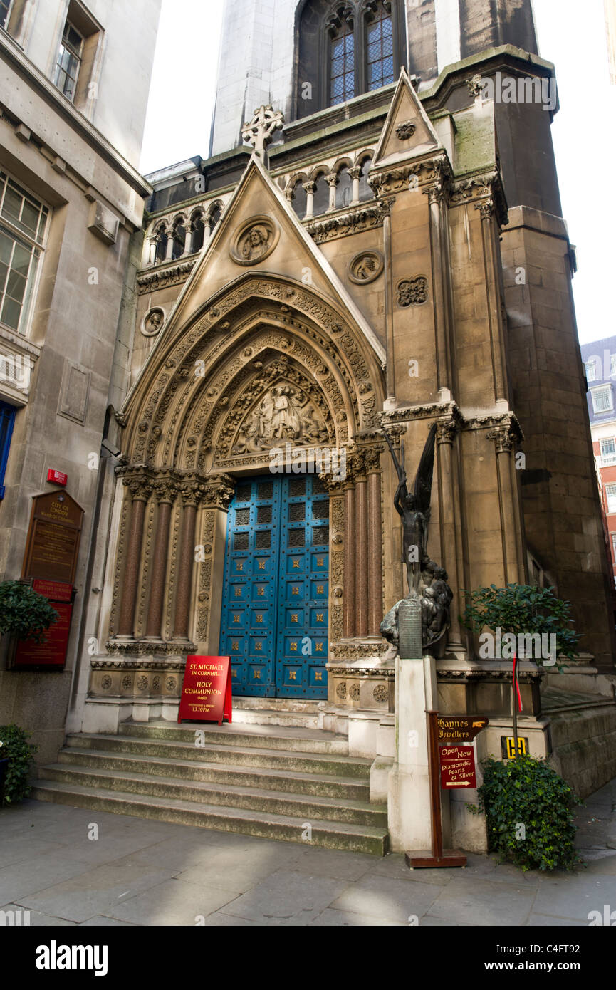 St Michael in Cornhill designed by Sir Christopher Wren, London, UK - Stock Image