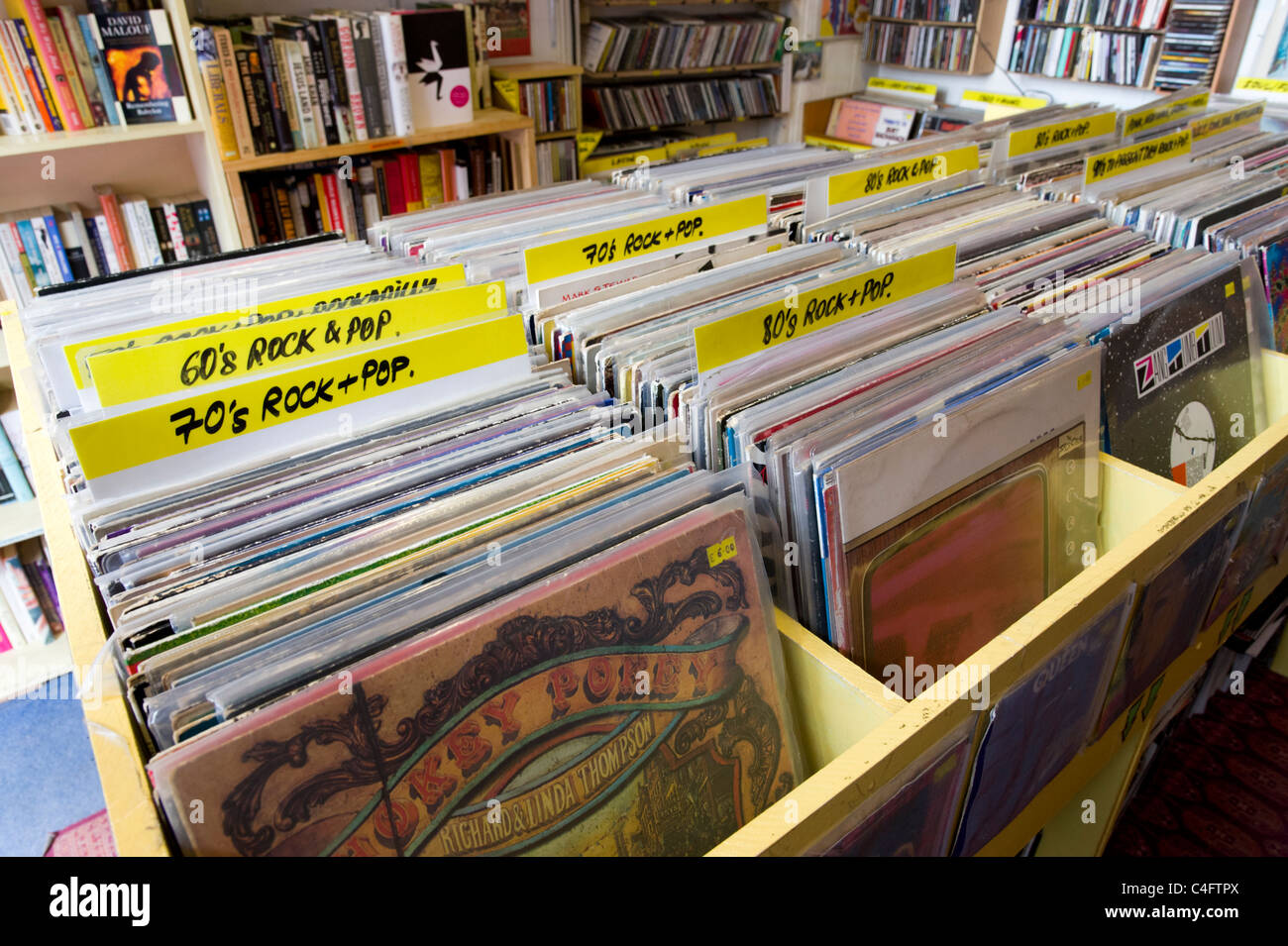 Miscellaneous secondhand vinyl records in shop, London, UK - Stock Image