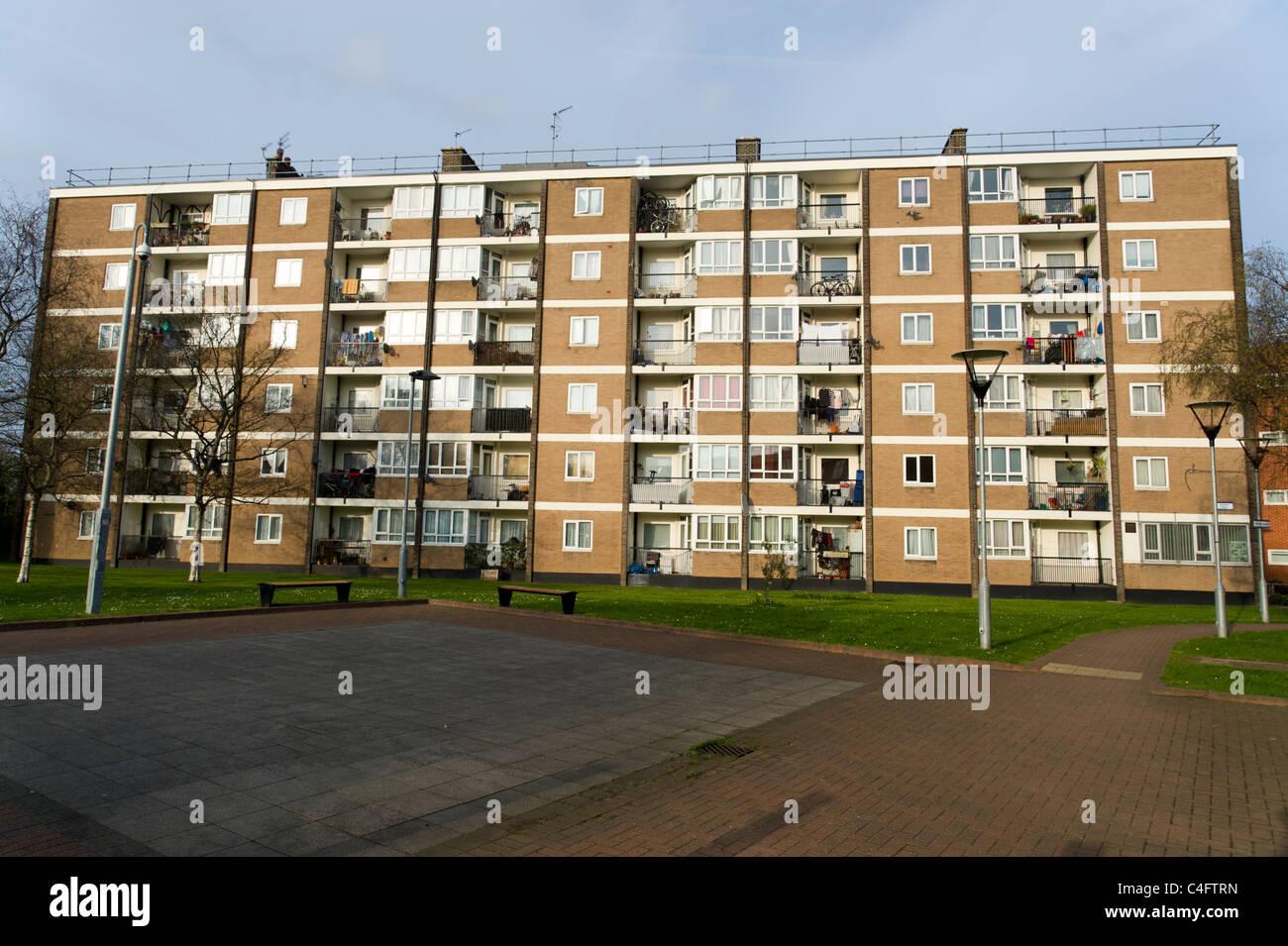 Block of council flats, Hackney, London, UK - Stock Image