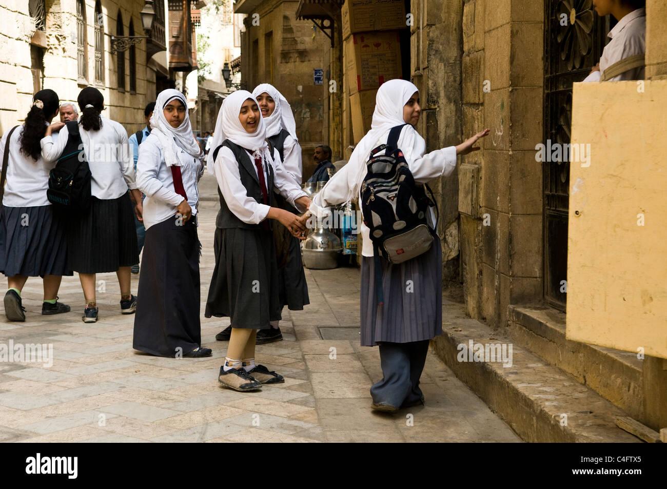 Egyptian school girls wearing school uniform in one of