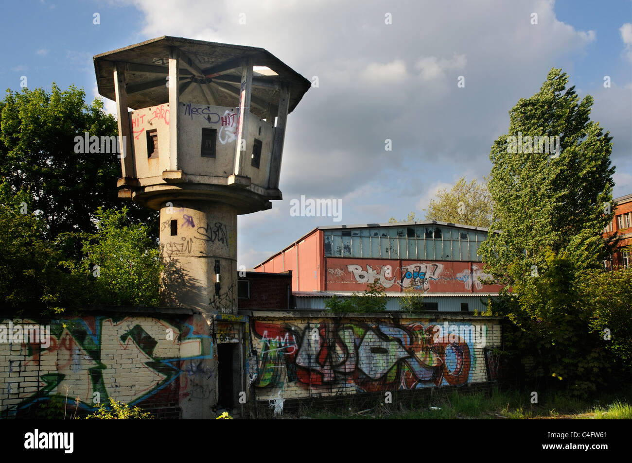 An abandoned watchtower in ex East Berlin - Stock Image