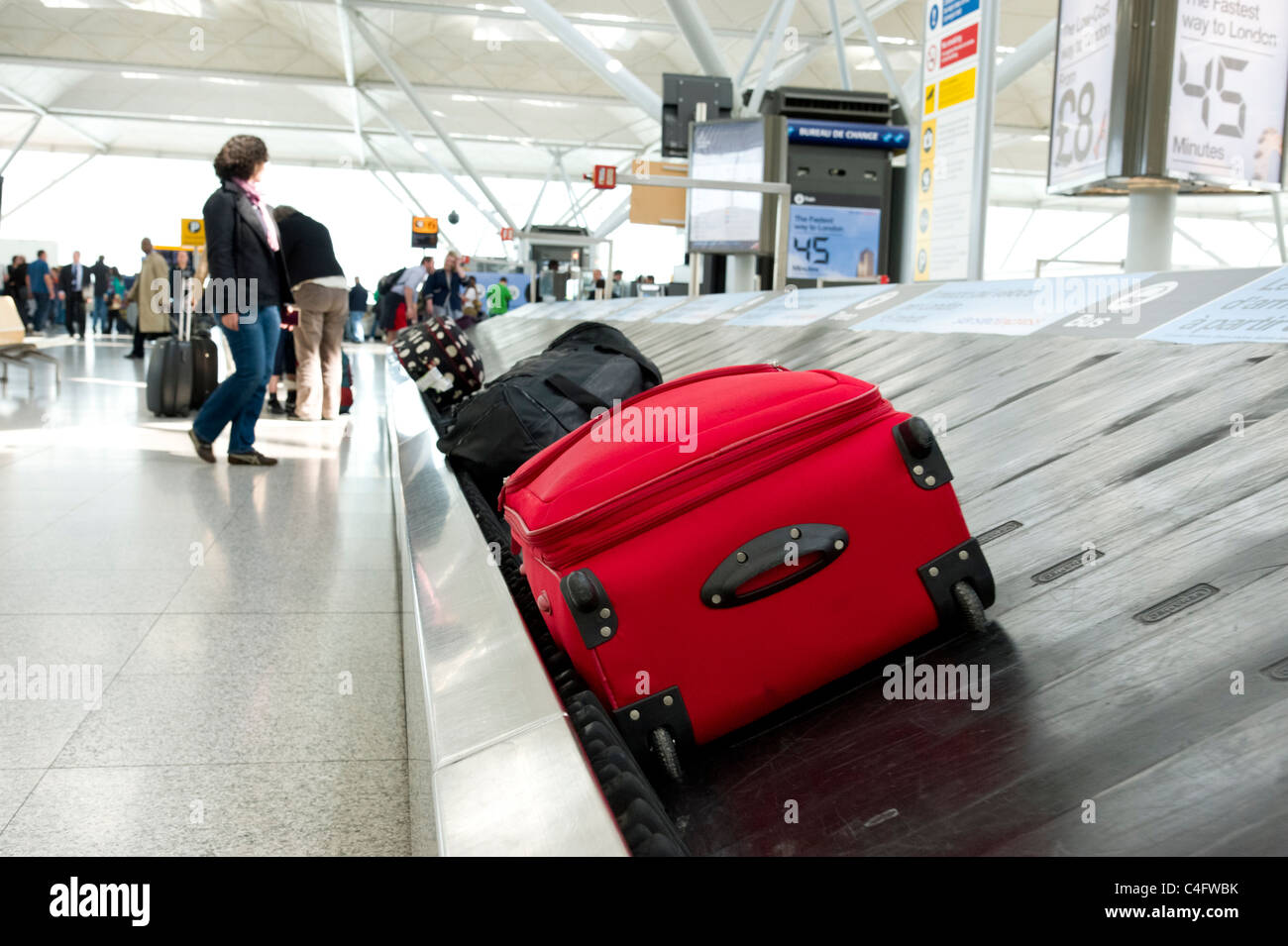 Luggage carousel at Stansted Airport, UK - Stock Image