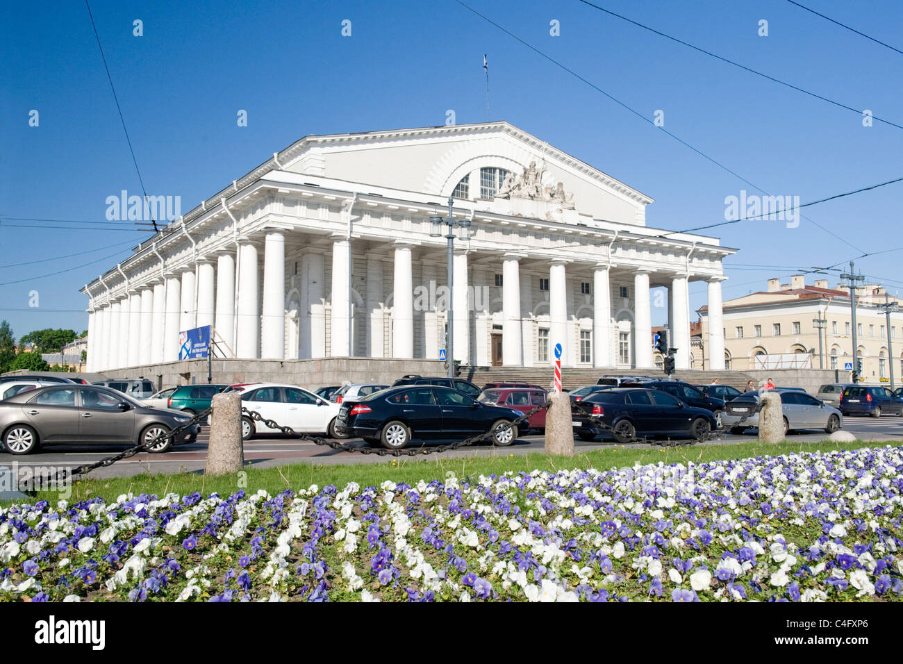 Russia , St Petersburg , neo classical facade of the Naval Museum erstwhile Stock Exchange built 1810 Stock Photo