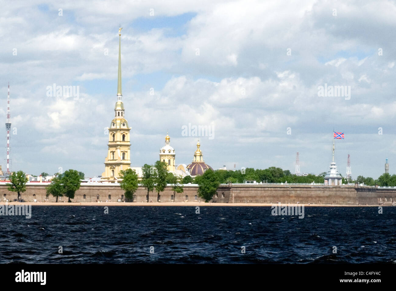 Russia , St Petersburg , Peter & Paul Fortress over River Neva Riva - Stock Image