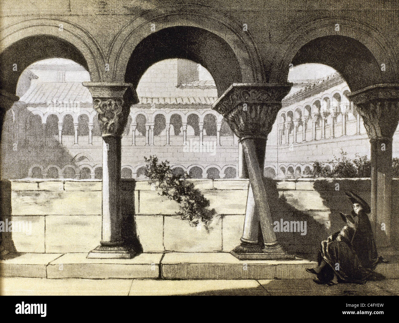Abbey of Santo Domingo de Silos. Cloister. Castile and Leon. Spain. Nineteenth-century Engraving. - Stock Image