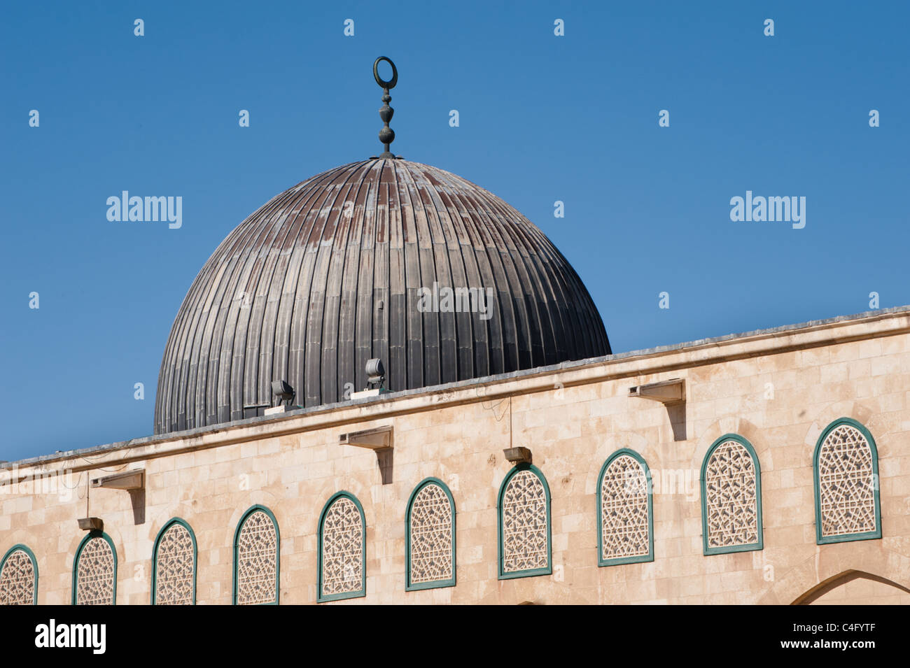 The dome of the Al-Aqsa Mosque on the Haram al-Sharif, also known as the Temple Mount, in the Old City of Jerusalem. - Stock Image