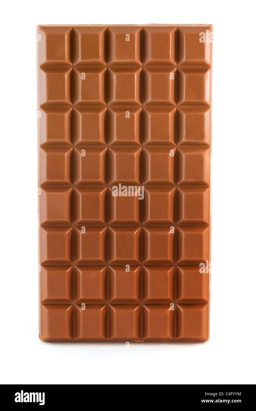 Milk chocolate bar isolated over white - Stock Image