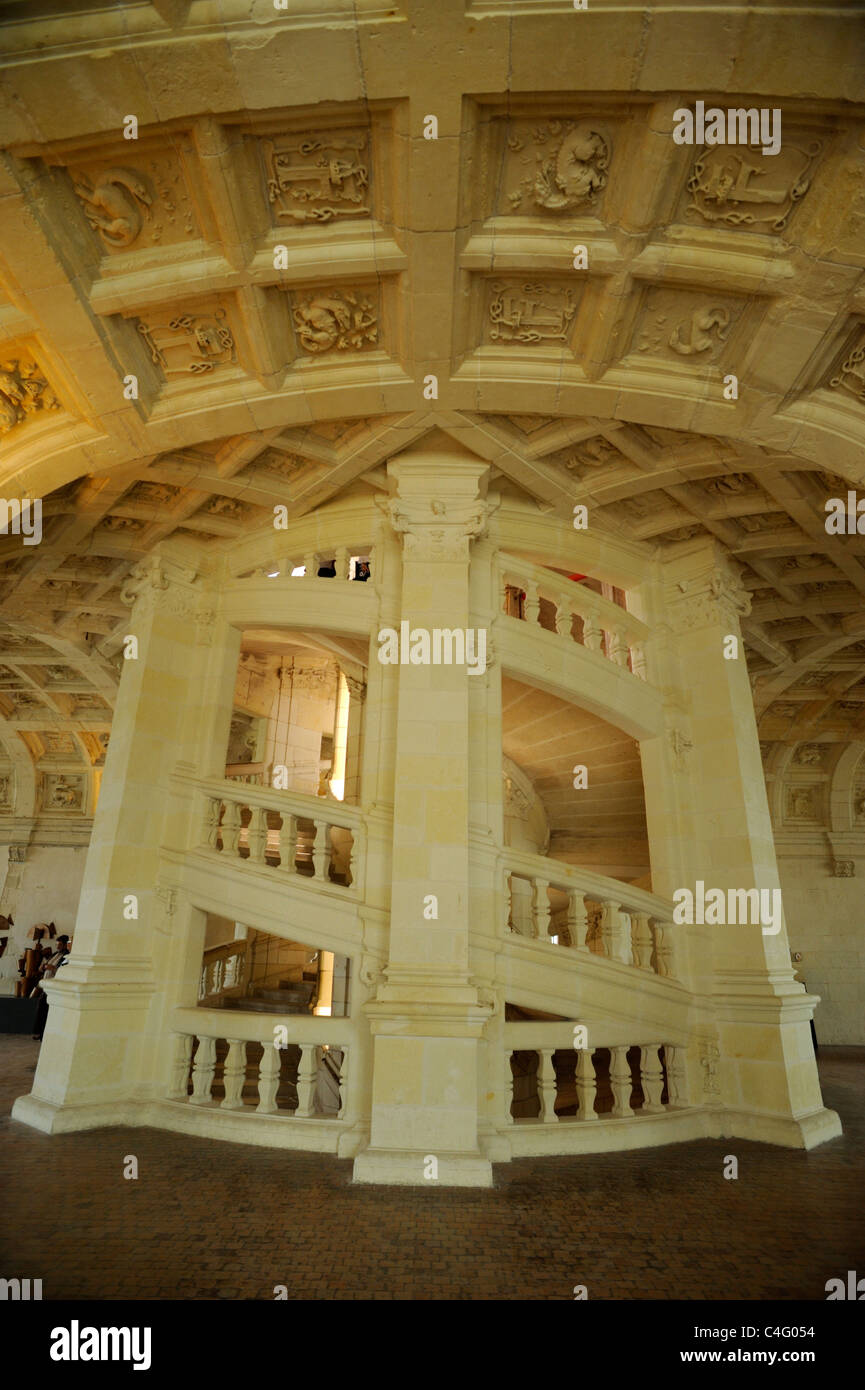france, loire valley, chambord castle, staircase - Stock Image