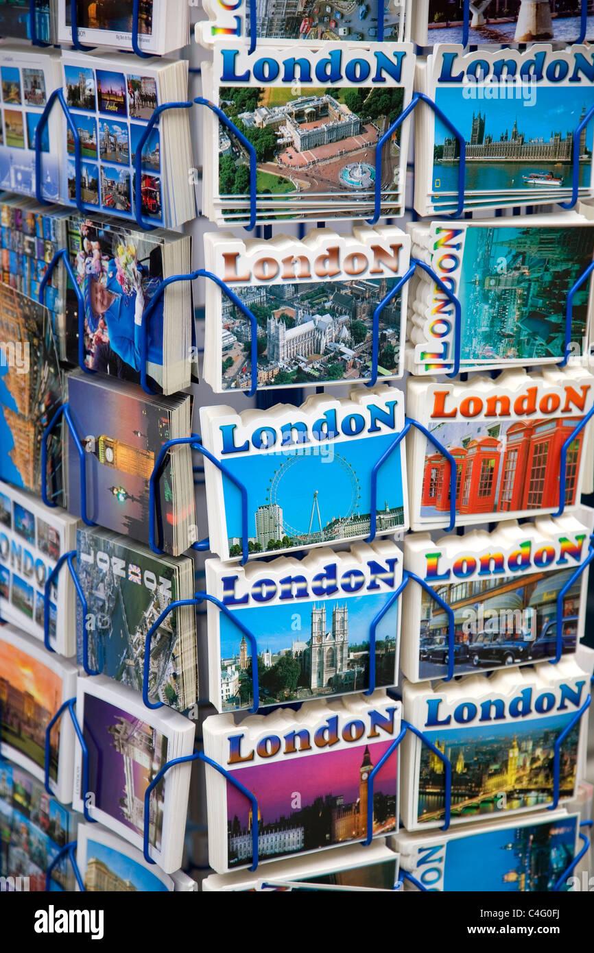 London Postcards Rack - Stock Image