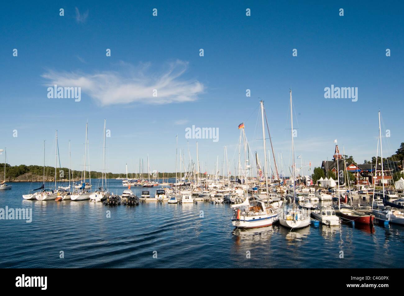 sandhamn harbour harbor stockholm archipelagos island sweden swedish batlic sea - Stock Image
