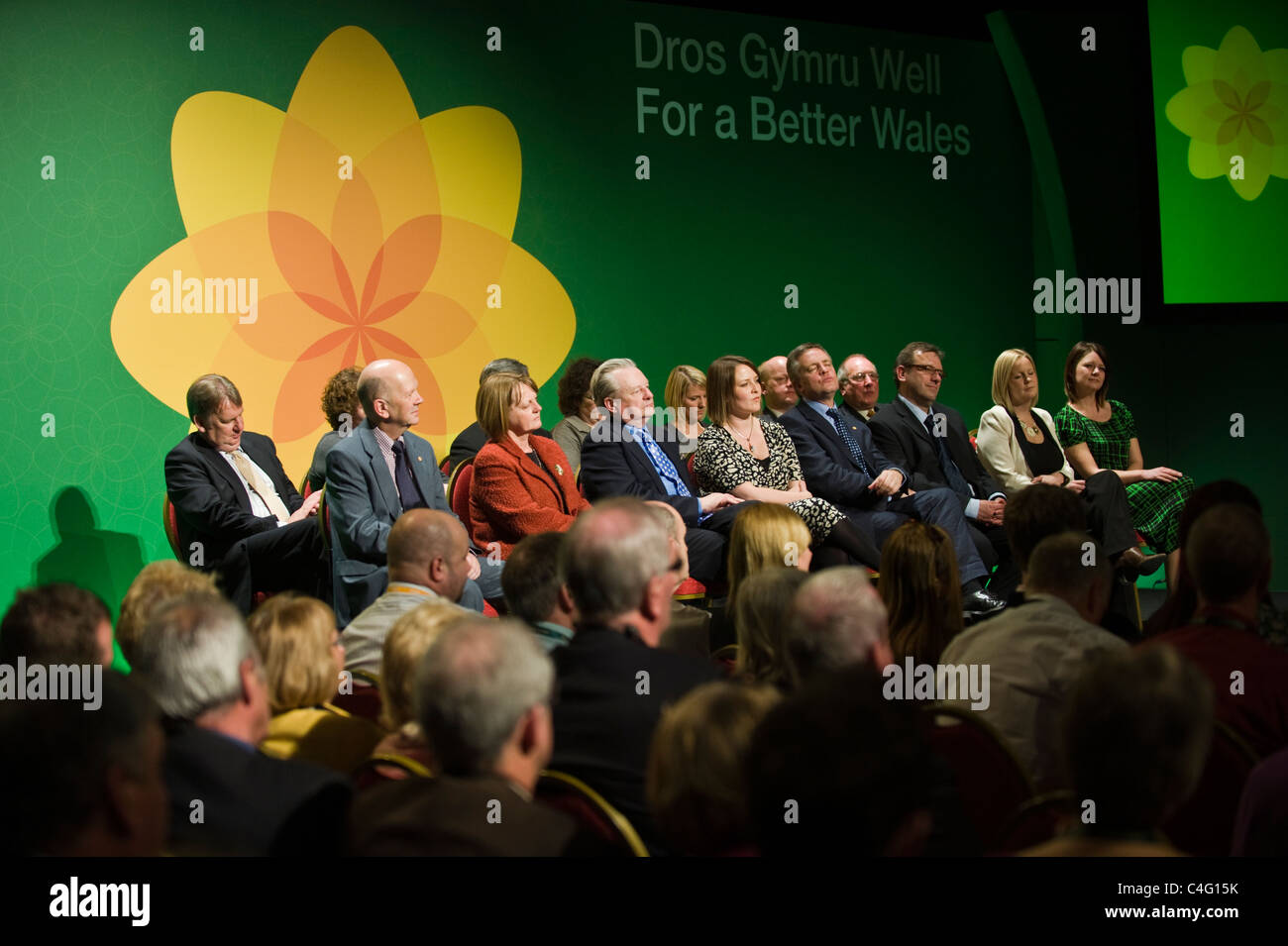 Senior party members on stage at Plaid Cymru's 2011 annual conference in Cardiff South Wales UK - Stock Image