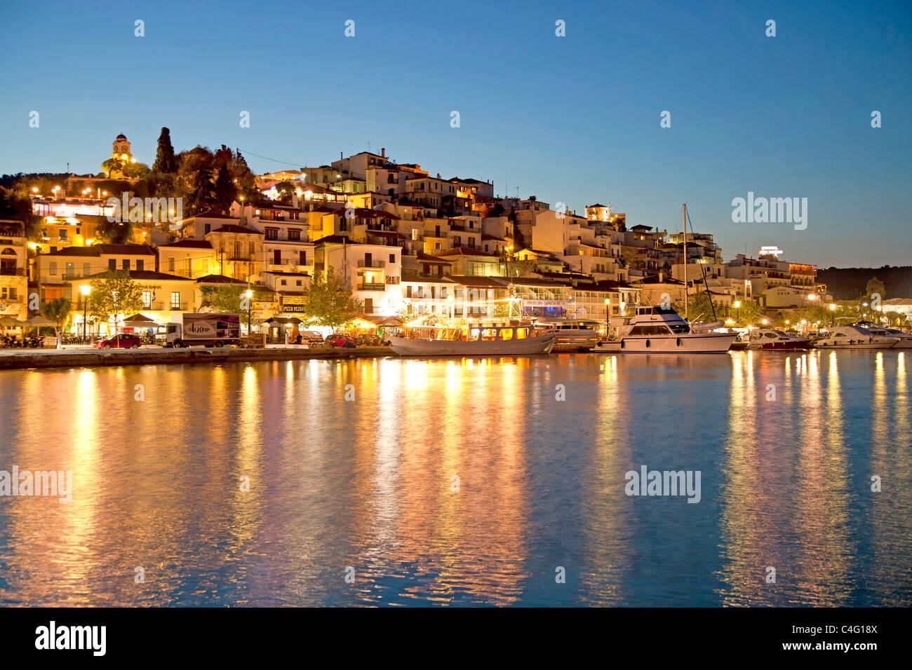 cityscape Skiathos Townduring the Blue hour on Skiathos Island, Northern Sporades, Greece Stock Photo