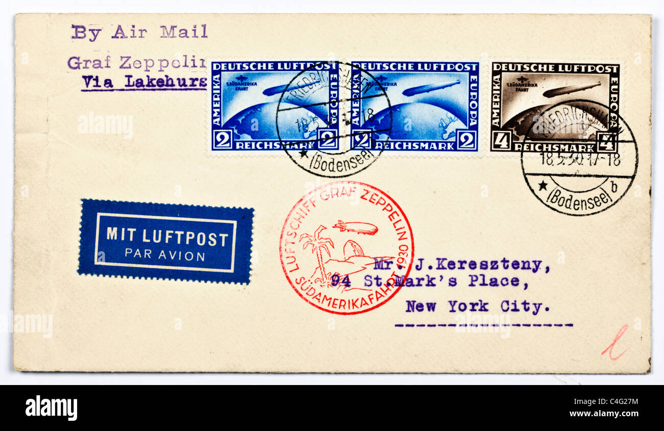 An envelope sent by the German airship Graf Zeppelin from South America to the addressee in New York City date stamped - Stock Image