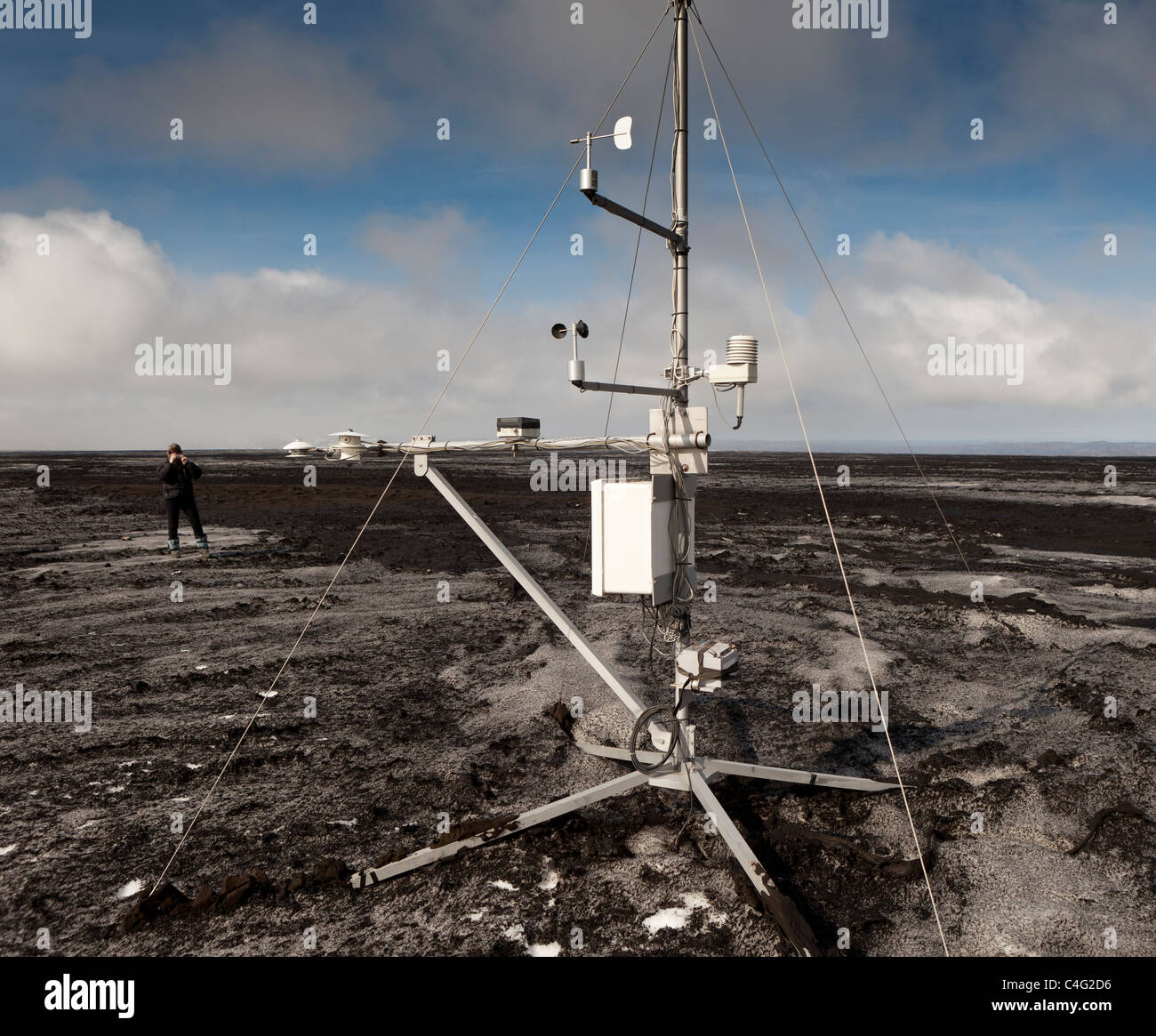 Weather station placed on ashfall from Grimsvotn volcanic eruption, Iceland - Stock Image