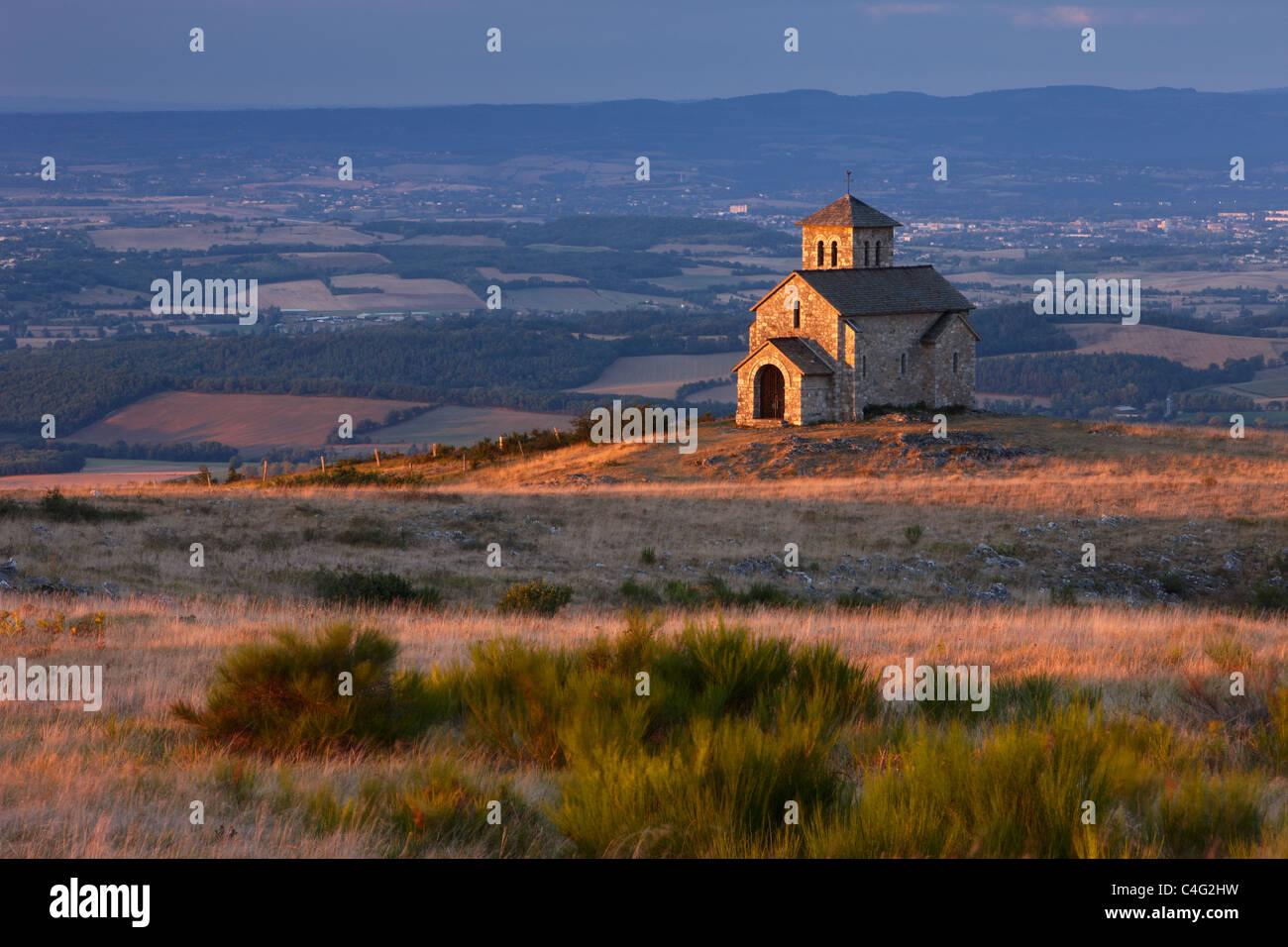 Chapelle de Saint-Ferrèol with Lauragais countryside beyond, Montagne Noire, Tarn, Midi Pyrenees, Languedoc, - Stock Image