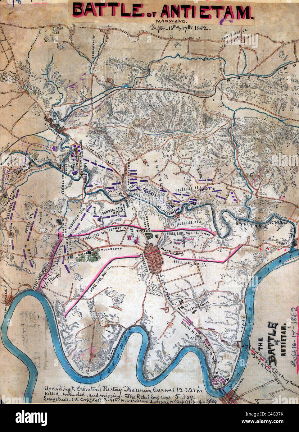 Map of Battle of Antietam (Sharpsburg) during USA Civil War showing troop positions - Stock Image