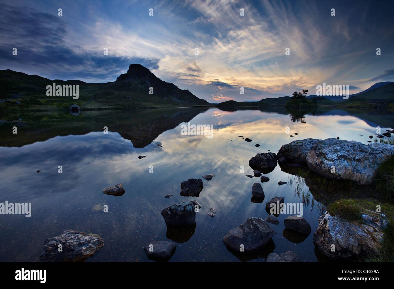 Llynnau Cregennen at dawn, beneath Cadair Idris, Snowdonia, Wales - Stock Image