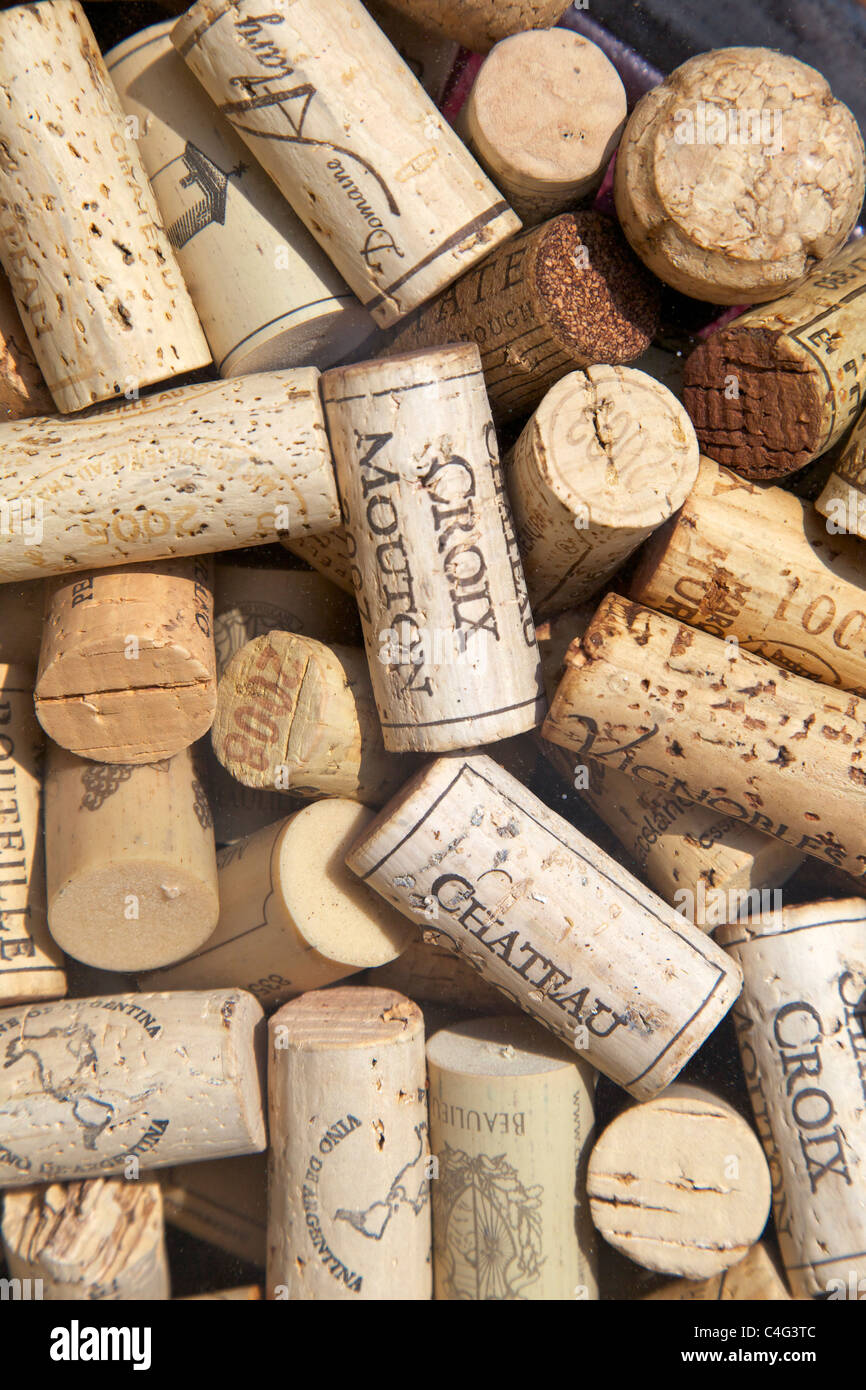 Wine, corks, cork, fine, chateau, french, vintage, abstract, wines, - Stock Image