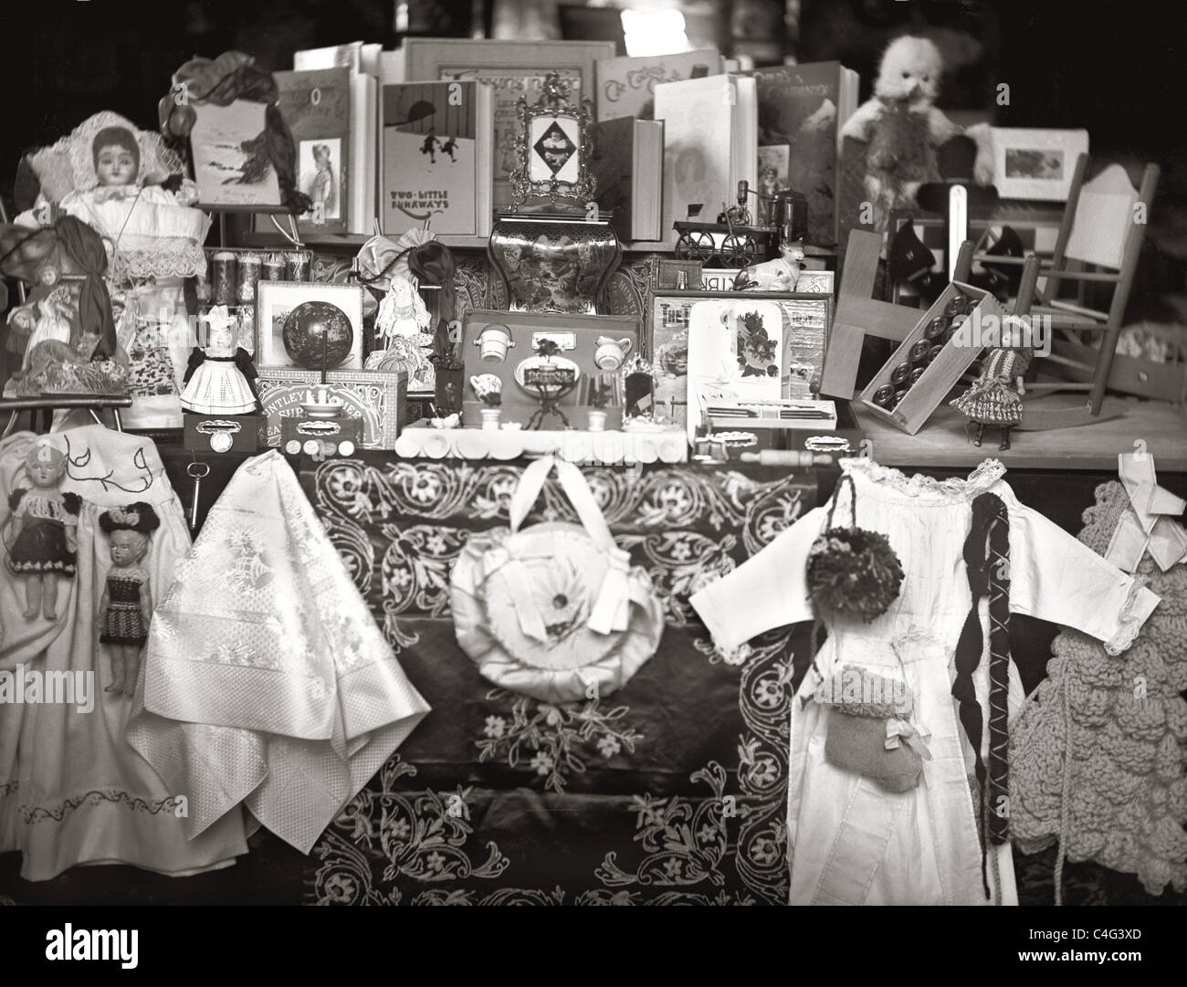 Original photograph of an Edwardian or Victorian toy shop front / window display - Stock Image