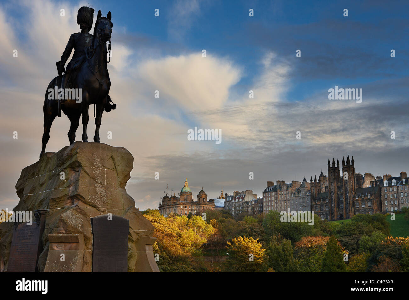 memorial to the Royal Scots Greys, Princess Street, Edinburgh, Scotland - Stock Image
