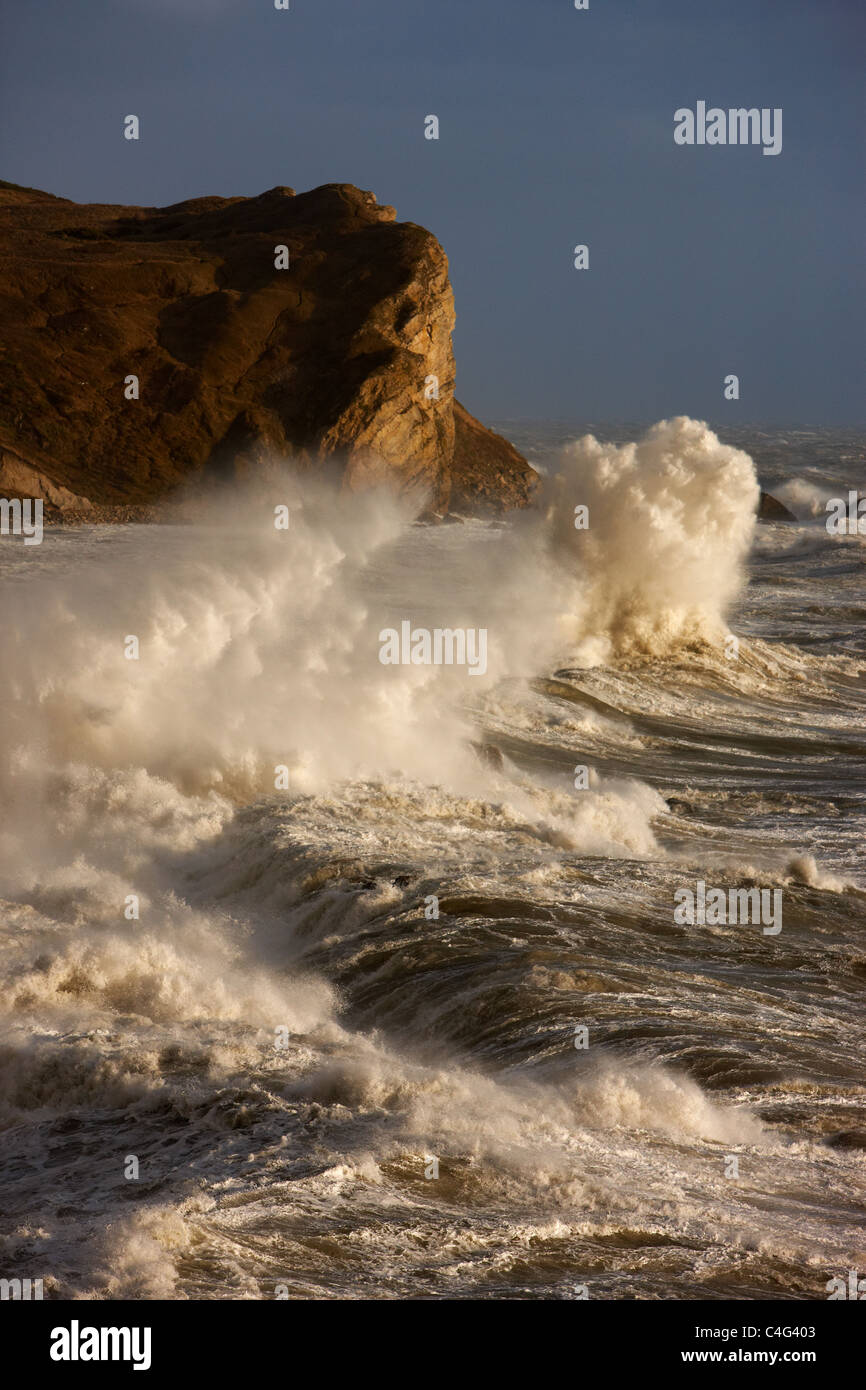 stormy seas at Man O War Bay, Jurassic Coast, Dorset, England - Stock Image