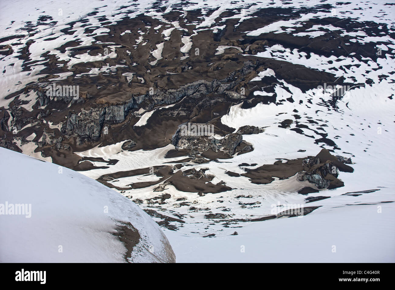 Ash fall and snow by crater, Grimsvotn volcanic eruption, Iceland - Stock Image